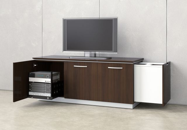 Performance Credenza | Utility Credenza | M26 Walnut Veneer | Technology Equipment Rack
