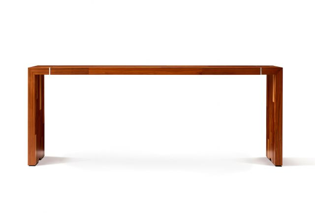 Tesano | Community Table | Planked Veneer | Standing Height | Side View