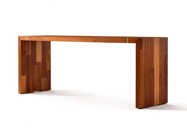 Tesano | Community Table | Planked Veneer | Standing Height | Angled View | Whitesweep