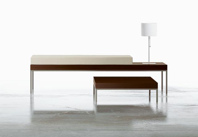 Tiro | Bench and End Table | M26 Walnut Veneer | Foil Powdercoat