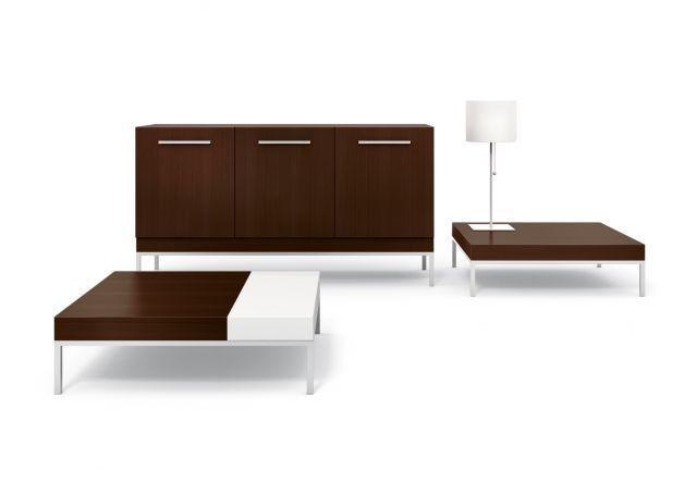 Tiro | Coffee Tables and Console | M26 Walnut | Foil Powdercoat Base