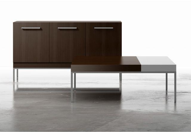 Tiro | Console and Coffee Table | M26 Walnut Veneer | Foil Powdercoat Base