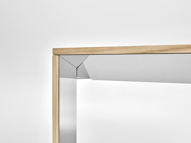 Tova | Conference Table | Development Finish on Oak | Polished Chrome Underside | End Detail