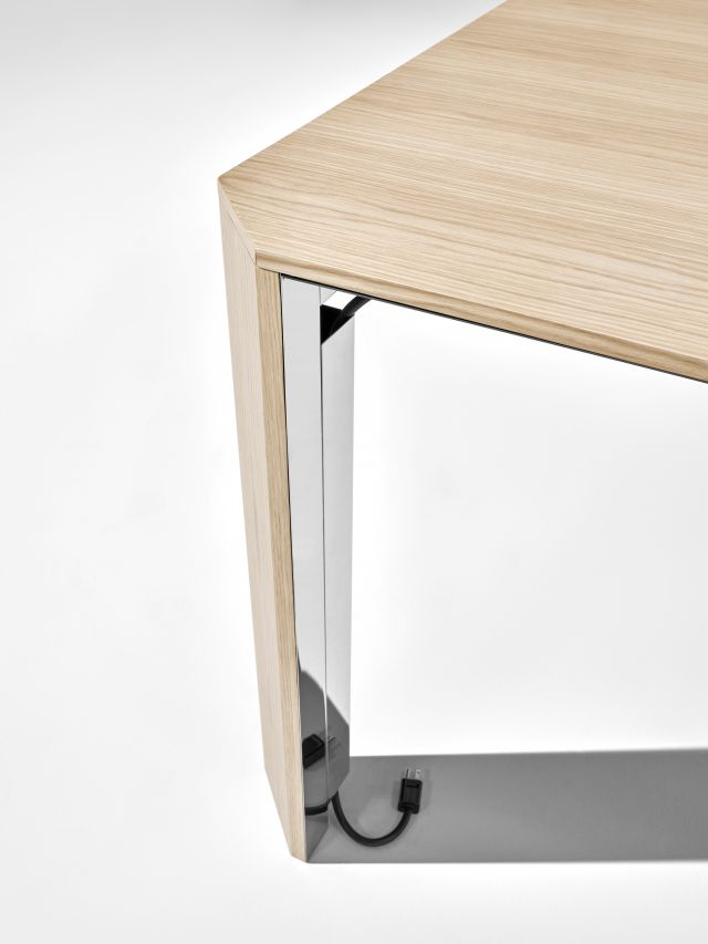 Tova | Conference Table | Dune Veneer | Polished Chrome Underside | Leg Detail