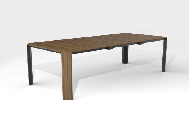 Tova | Conference Table | Rectangle Walnut Veneer Top | Storm Powdercoat Metal Accents