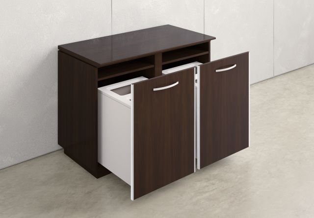 Performance Credenza | M26 Walnut Veneer | Trash and Recycling