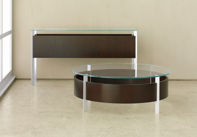 View | Coffee Table and Console | G99 Cordovan Cherry | Clear Anodized Metal Base