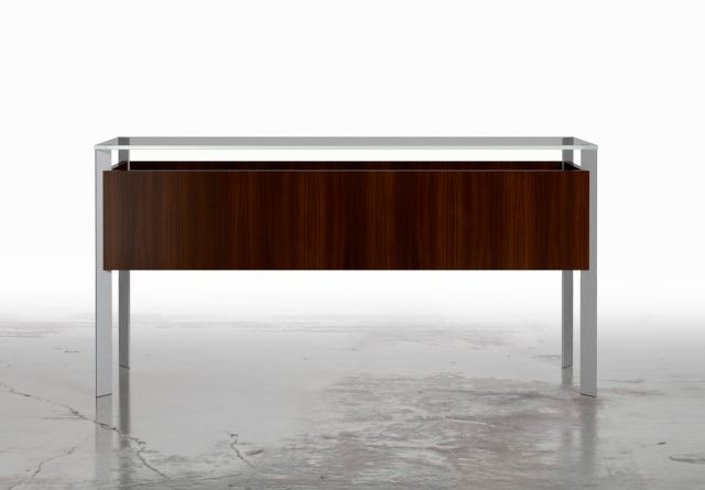 View | Rectangle Console | Glass Top | G99 Cordovan Cherry Veneer | Clear Anodized Metal Base