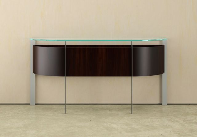 View | Demilune Console | Glass Top | G99 Cordovan Cherry Veneer | Clear Anodized Metal Base