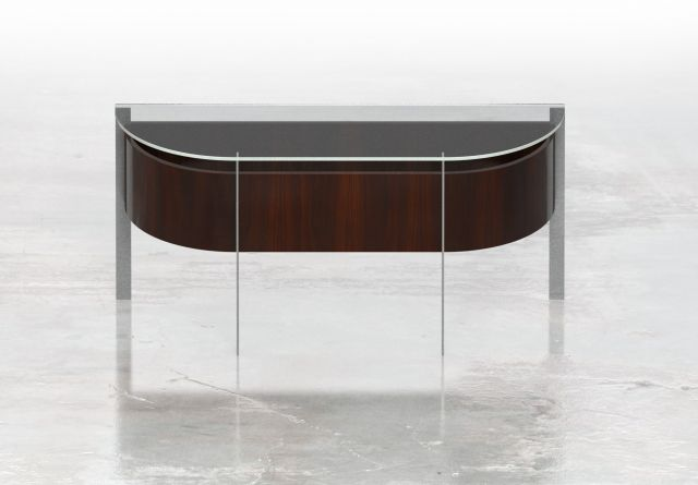 View | Demilune | Glass Top | G99 Cordovan Cherry Veneer | Clear Anodized Metal Base