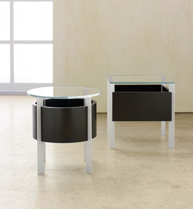 View | End Tables | Glass Top | G96 Coco Cherry | Clear Anodized Base | Round and Square