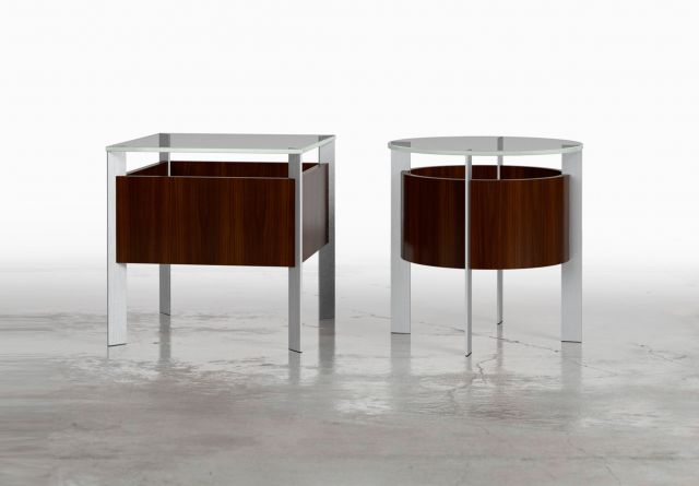 View | Round and Square End Tables | Glass Top | G99 Cordovan Cherry | Clear Anodized Base