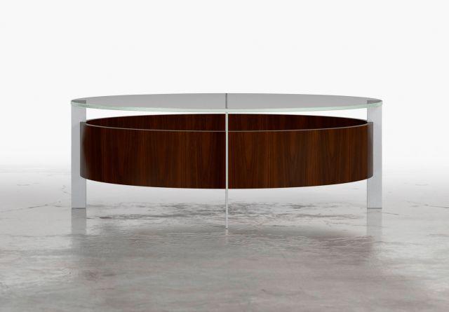 View | Coffee Table | Glass Top | M26 Walnut Veneer | Polished Chrome Base