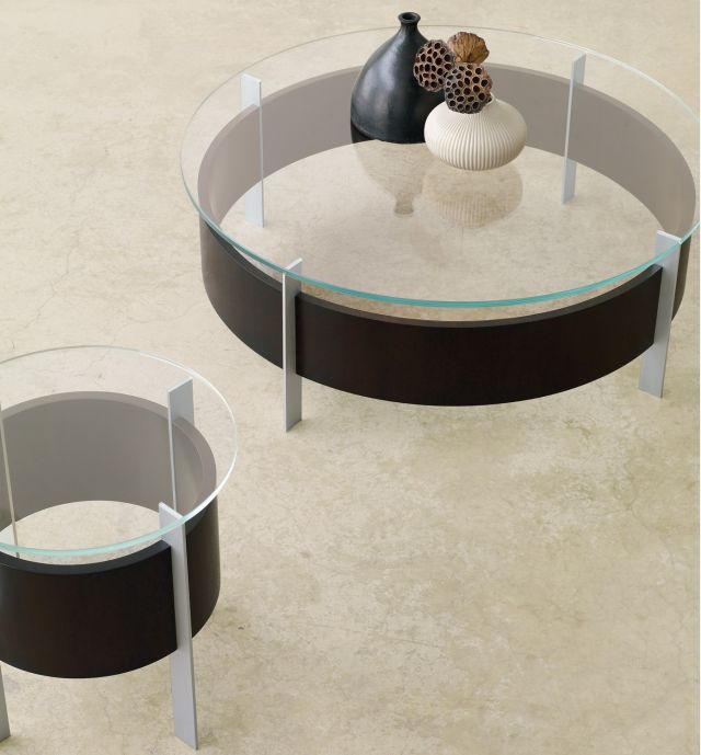 View | Coffee Table and End Table | Glass Top | G99 Cordovan Cherry Veneer | Foil Powdercoat Base | Round Tops