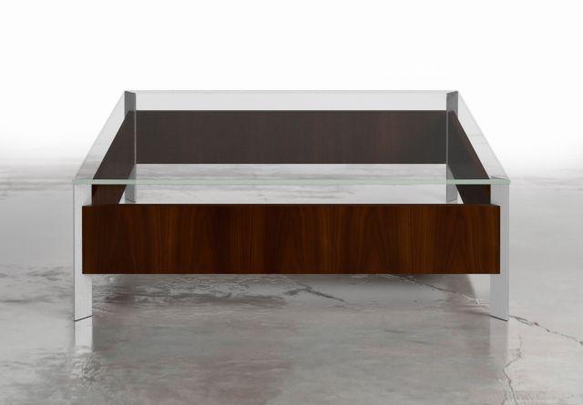 View | Coffee Table | Glass Top | M26 Walnut Veneer | Foil Powdercoat Base | Square Shape