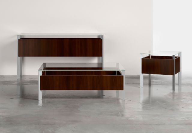 View | Occasional Table | Glass Top | M26 Walnut Veneer | Foil Powdercoat Base | Coffee Table, End Table and Console