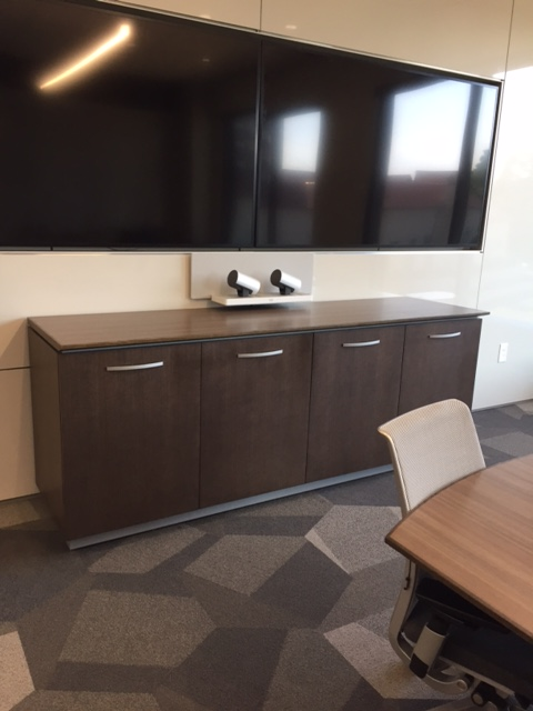 Performance Credenza | Food Service | G30 ZInc Walnut Veneer | White Glass Top | 4 Door with Metal Pulls