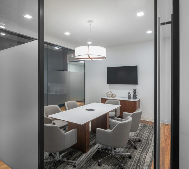 Flow Table & Flow Credenza | Inset Laminate Top | Sodoma Law Offices