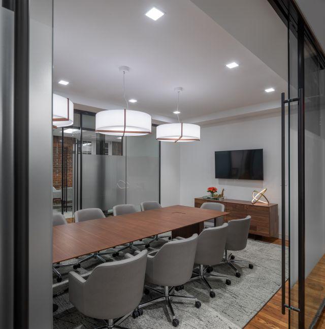 Flow Table & Credenza | Walnut Veneer & Plank Veneer| Sodoma Law Offices