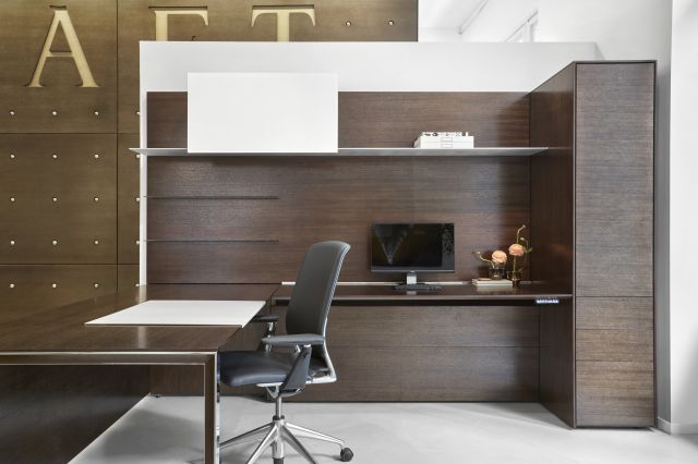 Merino | Casegood | Veneer | Black Chair | New York Showroom