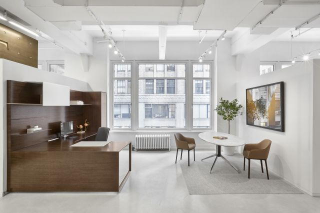 Merino | Casegood | Veneer | Side View | Ellipse Stone Meeting Table | New York Showroom