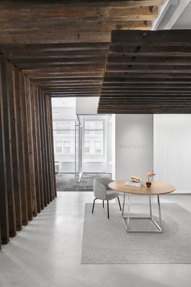 Two4Six | Meeting Table | Round Veneer Top | Polished Chrome Open Frame Base | New York Showroom