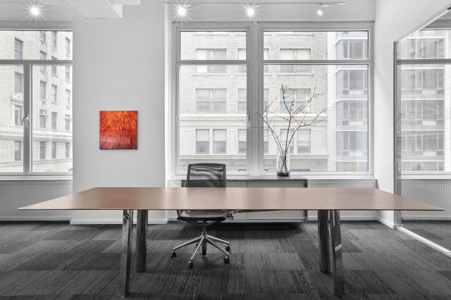 Kai | Conference Table | M27 Walnut Linea Veneer Top | Polished Chrome Legs | New York Showroom
