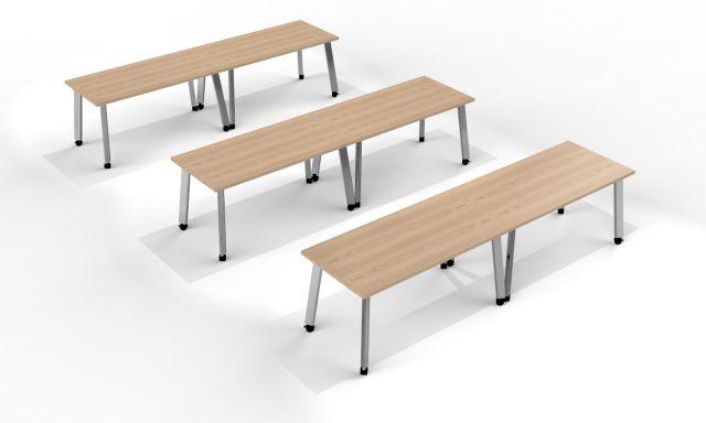 Agility | Classroom Shape | Laminate Top | Foil Powdercoat Legs | Casters