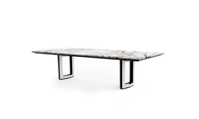 Ascari Conference   Stone Rectangle Shape Top   Open Panel Base in Cloud Paint with Black Powder Coat Base Reveal