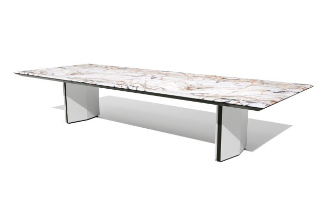 Ascari Conference   COM Stone Rectangle Shape Top   Closed Panel Base in White Brisa Ultrafabrics with Black powder coat reveal