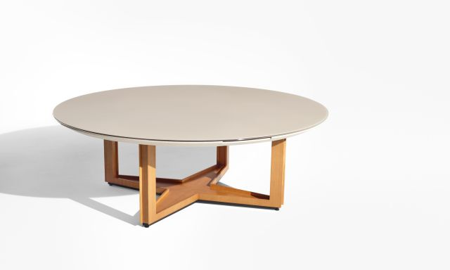Ascari Conference   Quill Glass Round Table   Open X Base in custom veneer
