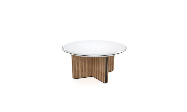 Ascari Conference   Round White Glass Top   Closed X Base in Canyon Veneer   Black Powder Coat Base Reveal