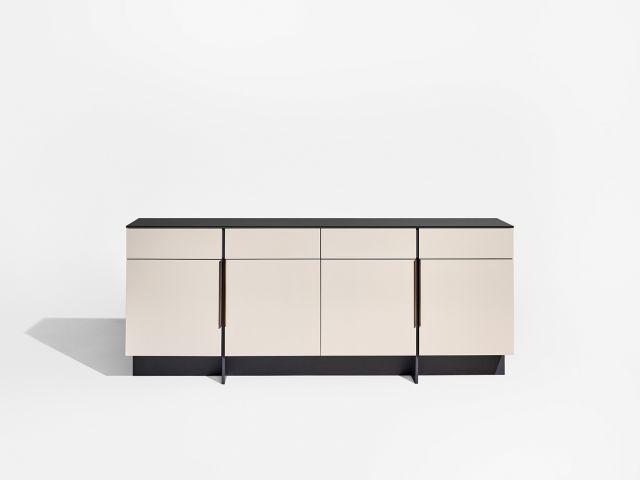 Forena | Conference Height Credenza | Black Satin Etched Glass Top | Moonlight Lacquered Polyester Case