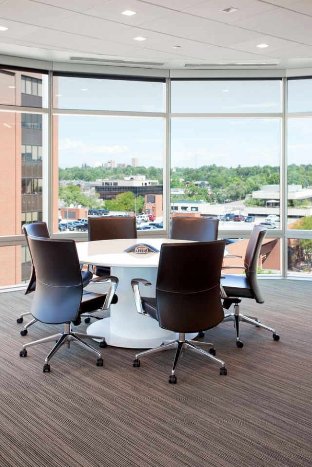 Flow | Conference Table | Round White Glass Top | Cylinder Base | Elements - Denver, CO