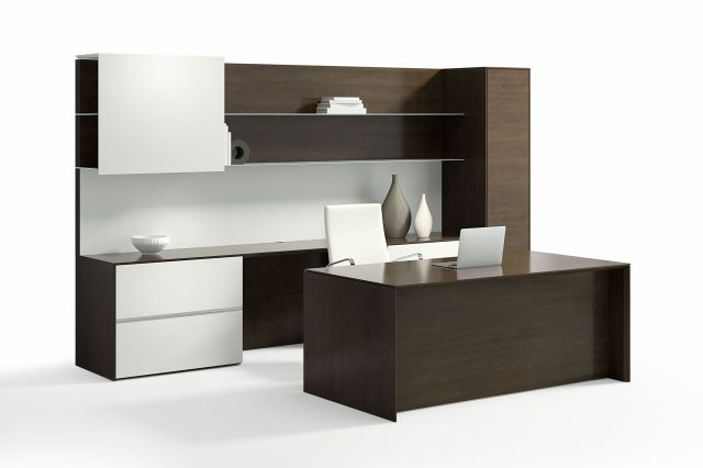 Merino | Casegood | G30 Zinc Quartered Walnut Veneer | Height Adjustable Desk | Seated Height