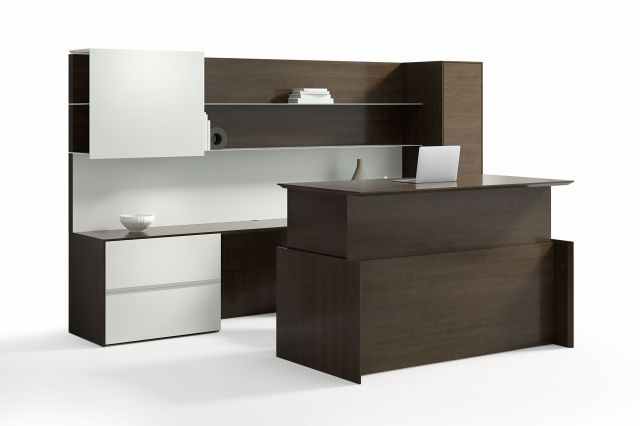 Merino | Casegood | G30 Zinc Quartered Walnut Veneer | Height Adjustable Desk | Standing Height