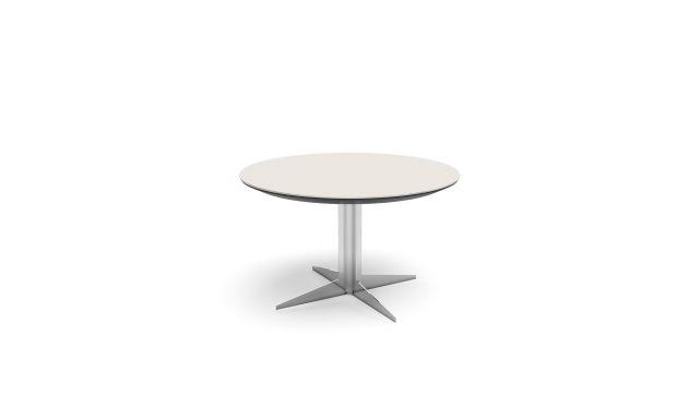 Ascari Conference   Round Porcelain Top   Polished Chrome Column Base