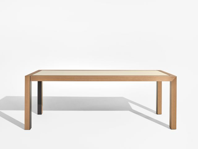 Epono | Community Table | Silver Birch Linea | Linoleum Top | Storm Powdercoat Metal Accents | Standing Height | Side View