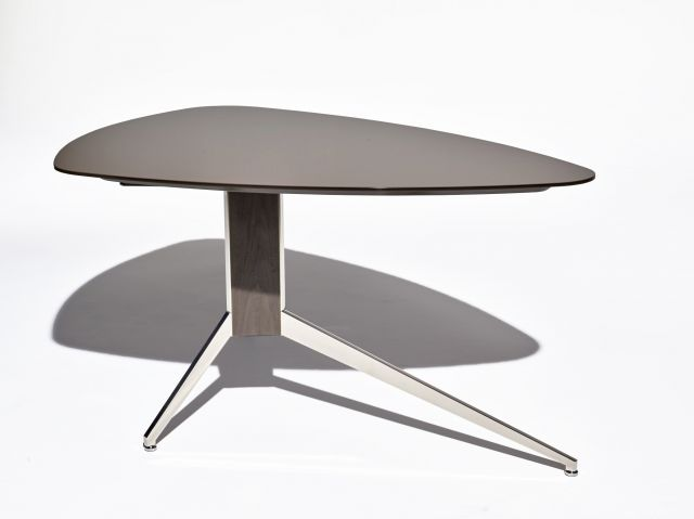 Merino | Meeting Table | VS Satin Clove Backpainted Glass | Soft Triangle